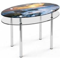 Стеклянный обеденный стол О2 110×65 / 102х57