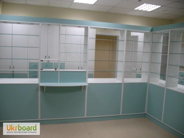 Фото 4. Оборудование для аптек, прилавки, шкафы, кассовые места, отделы под ключ