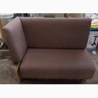 Продажа комплекта б/у из диванов, кресел и пуфов для кафе коричневого цвета