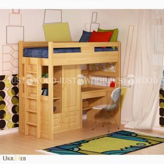 Детская кровать-чердак Леопольд из натурального дерева