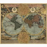 VIP- подарок - Настенная карта Карта мира двух полушарий для кабинета