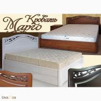 Элитная двуспальная кровать из массива ясеня с резьбой