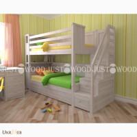 Двухъярусная кровать Синдерелла + из натурального дерева