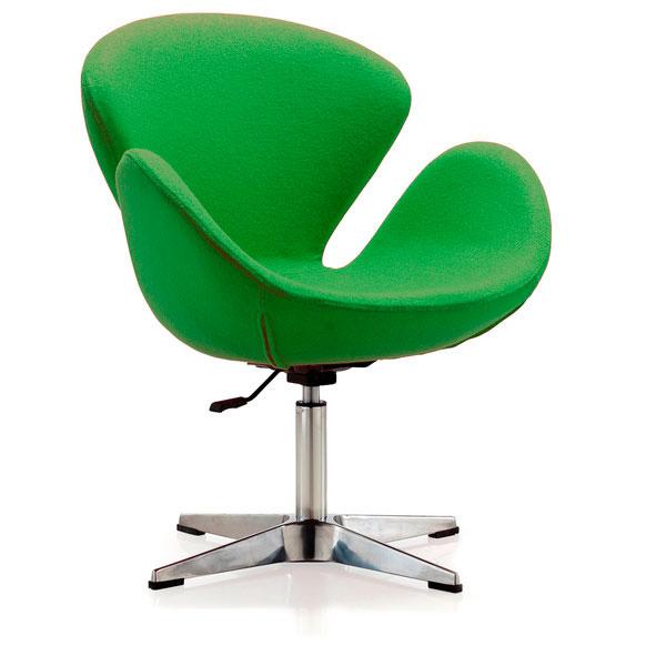 Фото 2. Мягкое кресло Сван, ткань, цвет зеленый, коричневый, серый