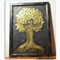 Картина денежное дерево, панно из монет, подарок и сувенир