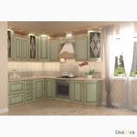 Кухня наборная в цвете Клен зеленый патина