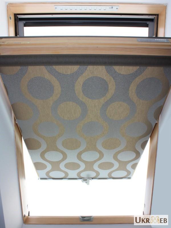 Фото 3. Рулонные шторы, тканевые роллеты на мансардные окна