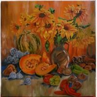 Картина Натюрморт с овощами, холст, масло, 50х50см