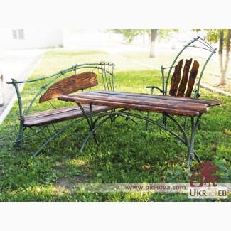 Кованый садовый набор: стол+скамья+кресло