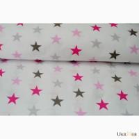 Детское постельное белье натуральное, Комплект Звезды серо-розовые