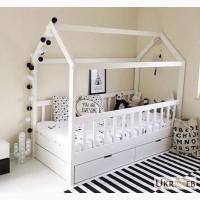 Кровать деревянная домик, детская с ящиками
