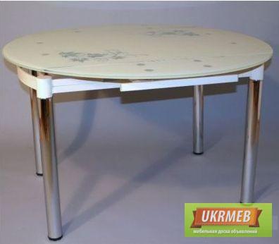 Фото 3. Круглый стеклянный стол для кухни B808, стол обеденный стеклянный круглый раздвижной B808