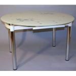 Круглый стеклянный стол для кухни B808, стол обеденный стеклянный круглый раздвижной B808