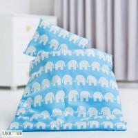 Детское белье в кроватку для новорожденных, Комплект Слоники голубые