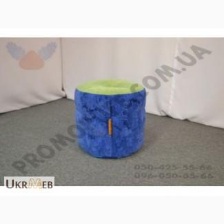 Пуфик цилиндр из комбинированной ткани