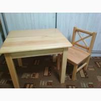 Натуральное дерево, детский стул и стол