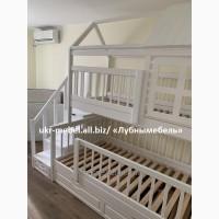 Кровать двухъярусная деревянная Домик плюс, двоярусне ліжко