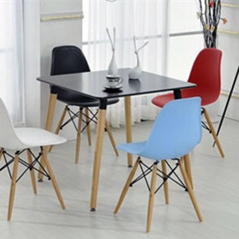 Фото 3. Стіл квадратний для обіду Нури 80*80 см білий, чорний