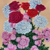 Картина масло холст Розы и хризантемы