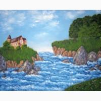 Картина масло холст Замок на острове