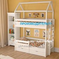 Кровать двухъярусная деревянная Дом4, двоярусне (двоповерхове) ліжко