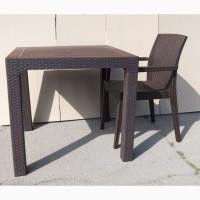Стол квадратный Лагуна, коричневый, пластиковый