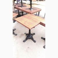 Стол б/у деревянный с чугунной ножкой для кафе, ресторана