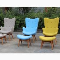 Кресло Флорино с пуфом под ноги, желтый, коричневый, пачворк