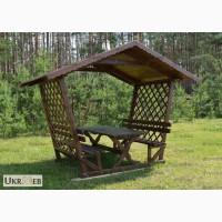 Беседка садовая деревянная со столом и лавками на 8 человек / Б4-4