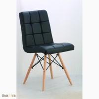 Мягкий стул Оскар, деревянные ножки, цвет черный, белый