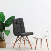 Мягкий стул Оскар, деревянные ножки, черный