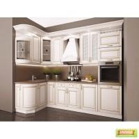 Кухня в цвете Белый патина золото
