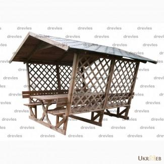 Беседка деревянная для сада на 12 человек со столом и лавками / Б4-3