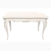 Дизайнерский раскладной стол с резьбой из массива дерева в гостиную, на кухню, в столовую