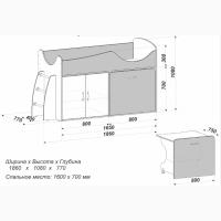 Малогабаритная Кровать-чердак МКЧ 101