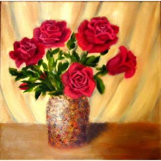 Картина масло холст Пять роз в вазе