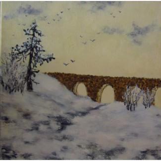Картина масло холст Мост через реку