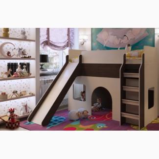 Низкая кровать чердак с горкой для детей от 3-х лет МКЧ 102