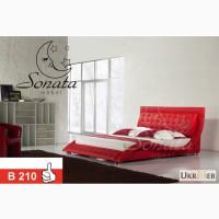 Красная кровать из натуральной кожи