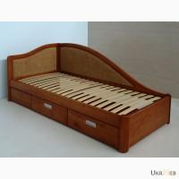 Надежная подростковая кровать из массива благородных пород дерева (ольха, ясень, дуб)