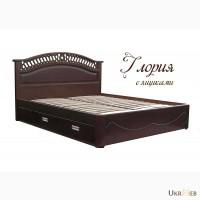 Надежная двуспальная кровать Глори из массива ясеня