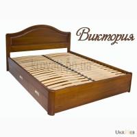 Двуспальная деревянная кровать с ящиками Вика из массива ясеня